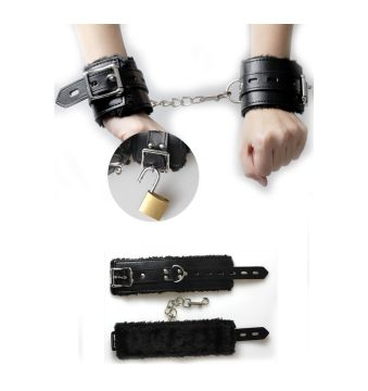 Leather and plush handcuffs 6146