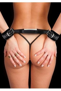 Adjustable Leather Handcuffs noir
