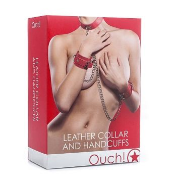 Leather Collar and Handcuffs rouge