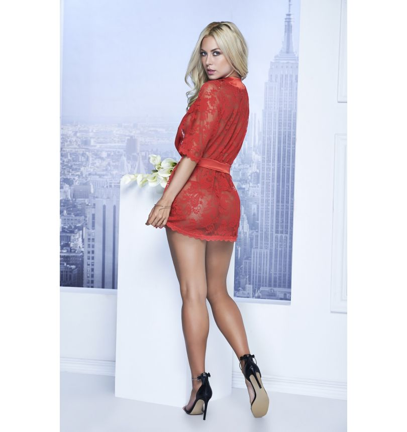 Lace robe red 7115